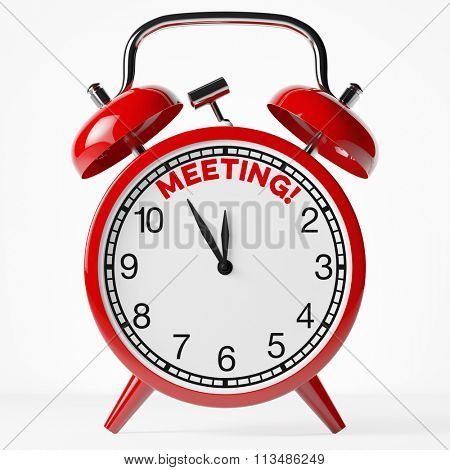 Meeting reminder on a red vintage alarm clock (3D Rendering)