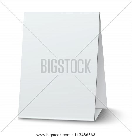 Blank white paper table card isolated