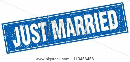 Just Married Blue Square Grunge Stamp On White
