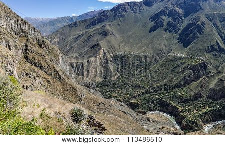 Panoramic View Of The Colca Canyon In Peru