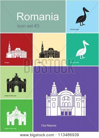 Landmarks of Romania. Set of color icons in Metro style. Raster illustration.