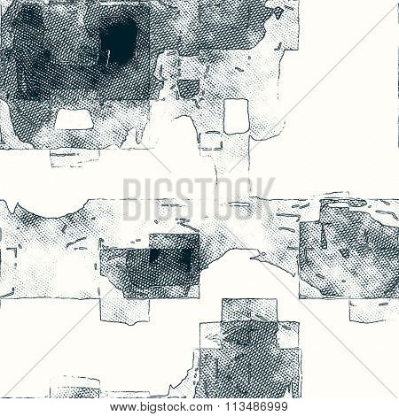 art abstract monochrome blue grey and white graphic background; seamless geometric pattern