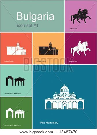 Landmarks of Bulgaria. Set of color icons in Metro style. Raster illustration.