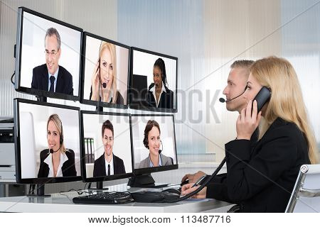 Business People Having Conference Call