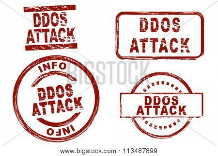 Set of stylized ink stamps showing the term ddos attack.