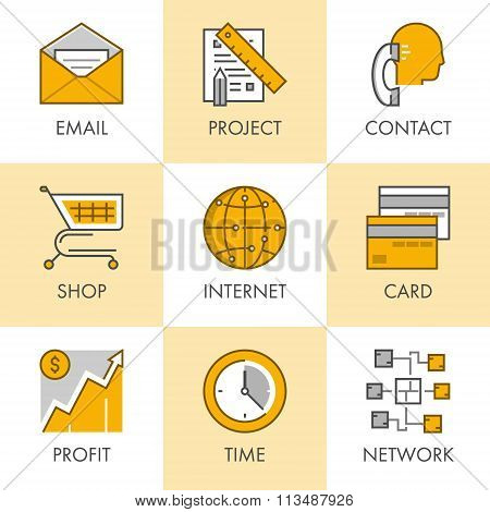 Linear And Flat Business Icons For Web. Project, Contact, Shop,