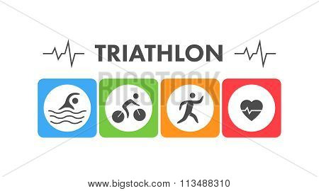 Line And Flat Triathlon Logo. Swimming, Cycling And Running Icon
