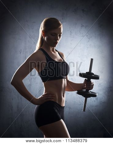 Attractive young sporty woman having a dumbbell exercise on her bicep.