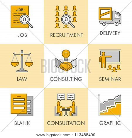 Vector Linear And Flat Business Icons For Web. Job, Recruitment,