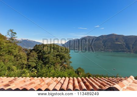 Lake Maggiore view from the window of an a house, Ticino, Switzerland