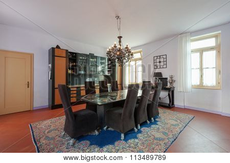 House interiors furnished, dining room