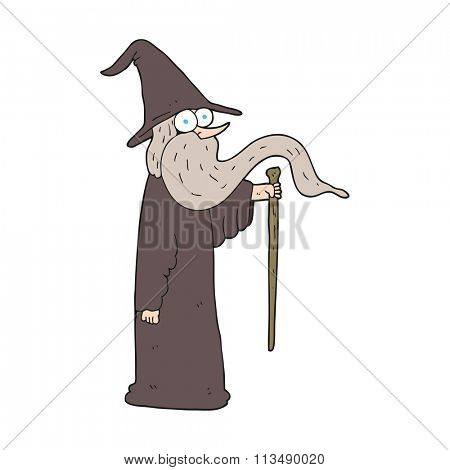 freehand drawn cartoon wizard