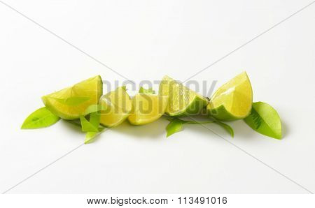 Fresh lime wedges in a row