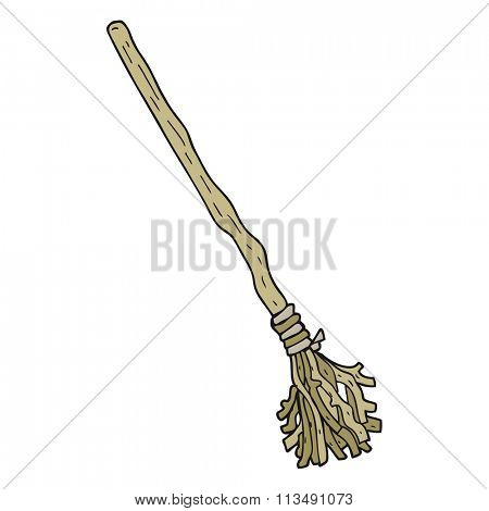 freehand drawn cartoon broomstick