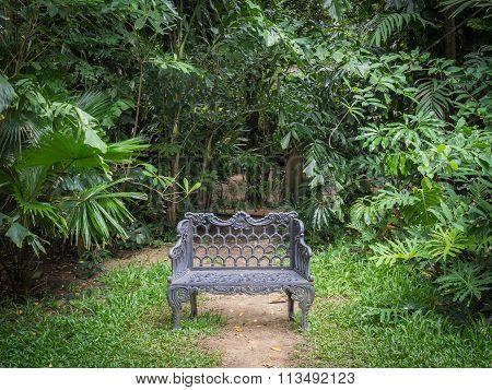 Cast Iron Bench In The Garden