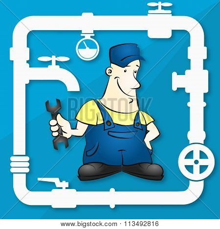 Master for repair plumbing illustration