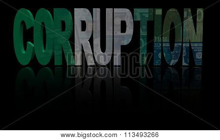 Corruption text with Nigerian flag and currency illustration