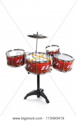 Drum Kit Toy Isolated On White Background