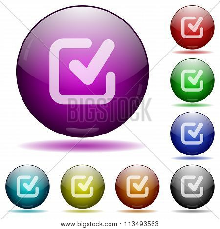 Checkmark Glass Sphere Buttons