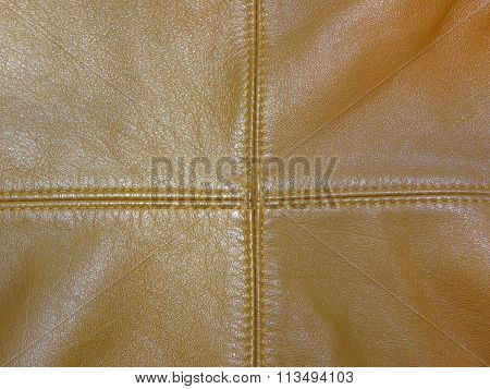 brown leather with expired sutures