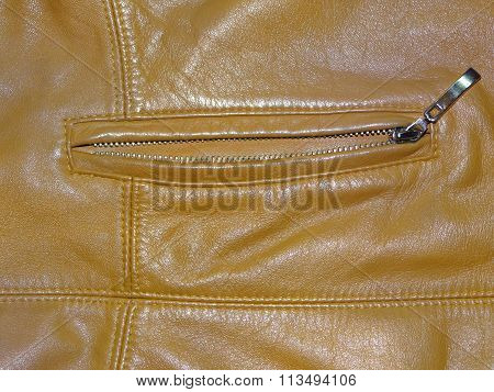 brown leather with pocket