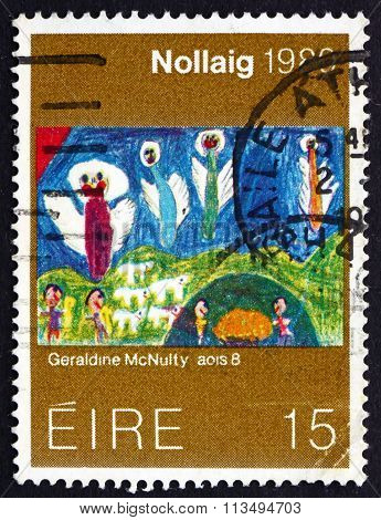 Postage Stamp Ireland 1980 Child's Drawing, Christmas