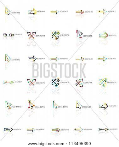 Set of linear arrow icons, thin line design