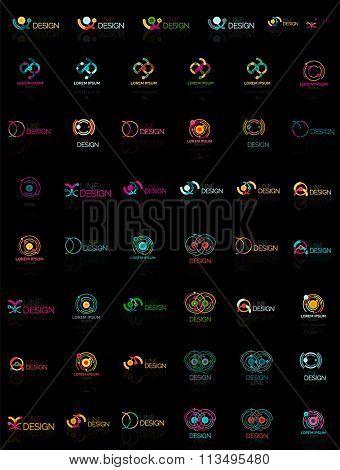 Mega set of multicolored swirl and circle logos, loop cycle infinity concepts