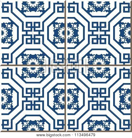Vintage seamless wall tiles of Chinese blue octagon spiral square flower.