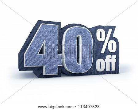 40 Percent Off Denim Styled Discount Price Sign