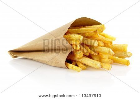 French Fries In The Paper Bag Isolated On White
