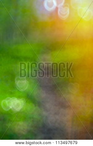 Abstract Background Bokeh With Glowing Hearts, Valentine's Day