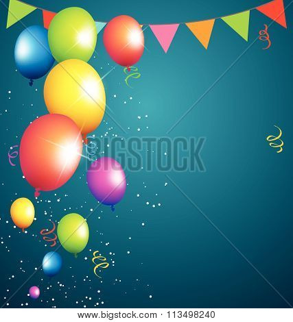 balloons party color full left side on blue background