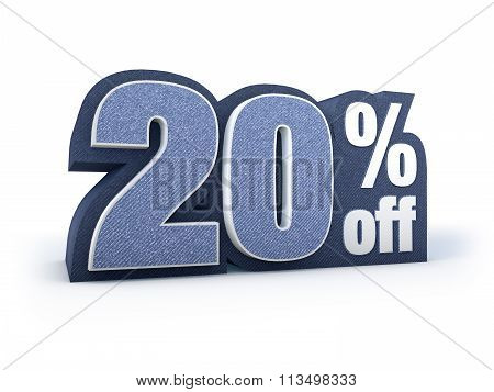 20 Percent Off Denim Styled Discount Price Sign