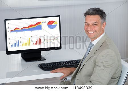 Happy Businessman Analyzing Financial Graphs On Computer