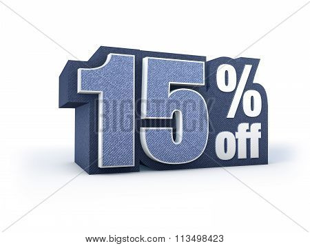 15 Percent Off Denim Styled Discount Price Sign