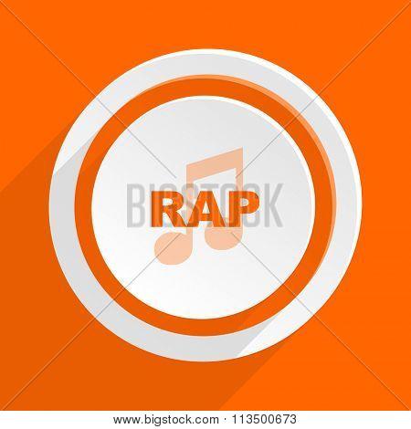 rap music orange flat design modern icon for web and mobile app