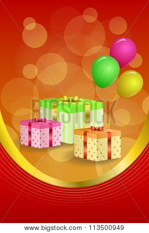 Background abstract birthday party gift box green red yellow balloons gold ribbon vertical frame