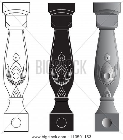 Set of random style balusters with stands