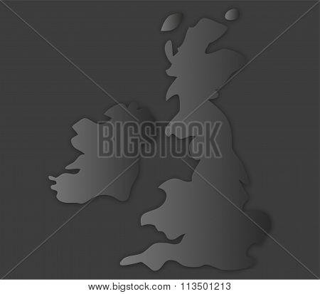 map britain illustrated and colored on white background