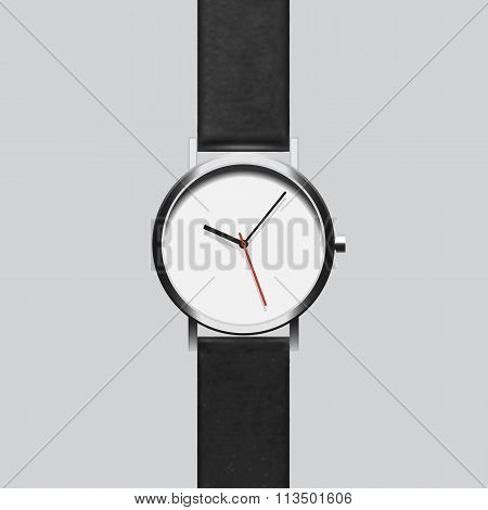Black wristwatch on gray background Vector EPS8