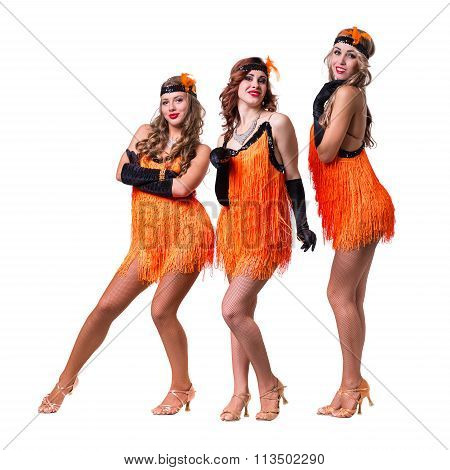 Female retro dancers showing some movements against isolated white