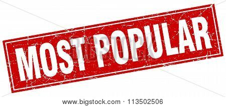 Most Popular Red Square Grunge Stamp On White