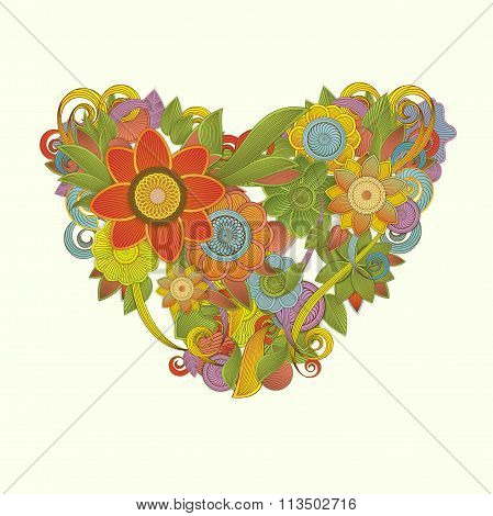 Colorful floral heart design