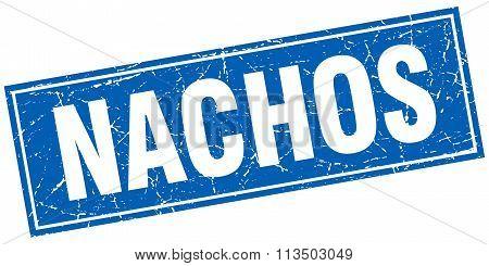 Nachos Blue Square Grunge Stamp On White