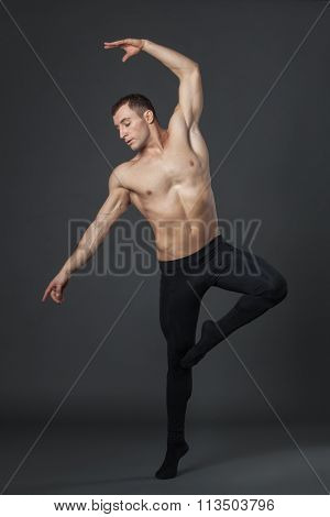 Modern Ballet Dancer In Studio.