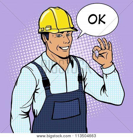 Builder man shows ok sign pop art style vector