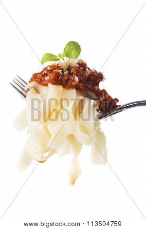 Tagliatelle With Bolognese On A Fork