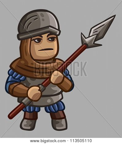 Medieval game character Pikeman. Vector illustration
