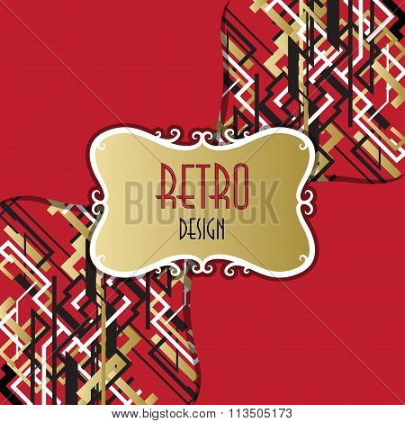 Trendy linear style bright design pattern with retro text  label.